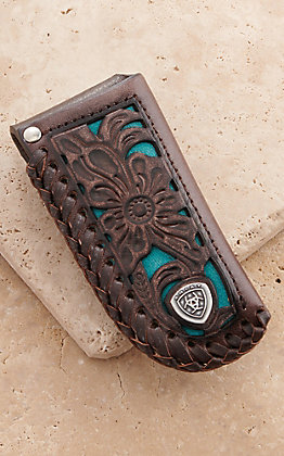 Ariat Dark Brown Leather Floral with Turquoise Inlay Knife Sheath