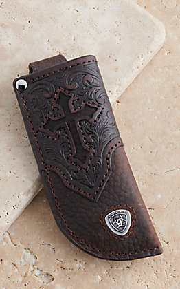Ariat Dark Brown Leather Cross Embossed Knife Sheath