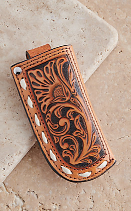 Ariat Tan Leather Floral Embossed Knife Sheath