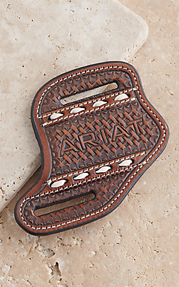 Ariat Brown Leather Tooled Logo Knife Sheath