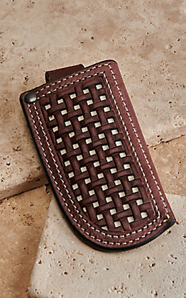 Ariat Brown Leather Basket Weave Knife Sheath