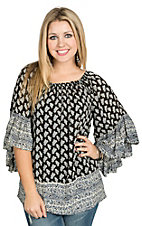 Vintage Havana Women's Black Botanical Print Peasant Top