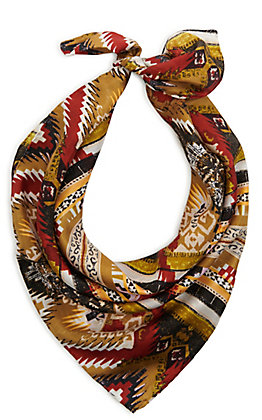 Olive, Burgundy and Gold Aztec Silk Wild Rags Scarf