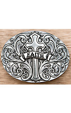 Montana Silversmiths Silver Cross with Faith Oval Buckle