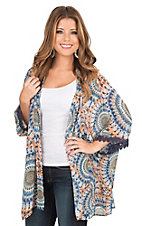 Umgee Women's Blue, Coral, and White Print 3/4 Sleeve Kimono