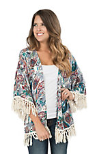 Umgee Women's Multi Colored Paisley Print with Ivory Fringe Long Sleeve Kimono