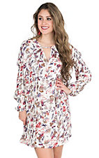 Umgee Women's Ivory with Pink and Purple Floral Print Long Cinched Sleeve Tunic Dress