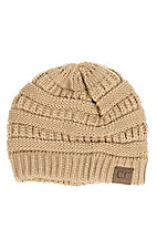 C.C. Beanies Women's Camel Ribbed Knit Beanie