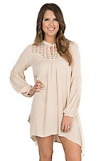 Umgee Women's Natural with Illusion Neckline and Long Cinched Sleeves Tunic Dress