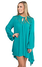 Umgee Women's Teal with Illusion Neckline and Long Cinched Sleeves Tunic Dress