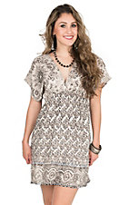 Angie Women's Cream and Black Printed Short Sleeve A-Line Dress