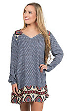 Umgee Women's Blue, Red, and Cream Native Print Long Sleeve Peasant Dress