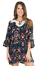 Umgee Women's Navy with Coral, Yellow, and Pink Floral Print and Cream Neckline 3/4 Bell Sleeve Tunic Dress
