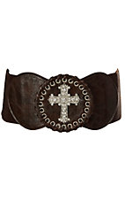 3-D Belt Company Angel Ranch  Brown with Rhinestone Cross Elastic High Waist Belt