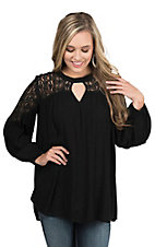 Umgee Women's Black with Lace Shoulders 3/4 Cinched Sleeve Fashion Tunic Top
