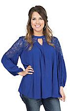 Umgee Women's Royal Blue with Lace Shoulders 3/4 Cinched Sleeve Fashion Tunic Top