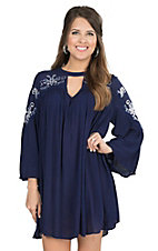 Umgee Women's Navy with Cream Floral Embroidery 3/4 Bell Sleeve Tunic Dress