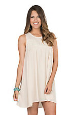 Umgee Women's Natural Crochet Detailed Dress