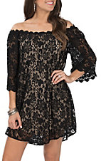 Umgee Women's Black and Taupe Off the Shoulder Floral Lace Dress