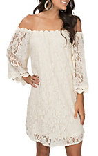 Umgee Women's Natural Off the Shoulder Floral Lace Dress