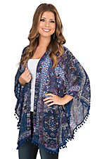Umgee Women's Blue, Purple, and Grey Multiprint with Pom Pom Fringe Long Sleeve Kimono
