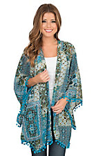 Umgee Women's Teal, Green, and Cream Multiprint with Pom Pom Fringe Long Sleeve Kimono