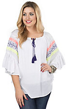 Surf Gypsy Women's White with Colorful Embroidery 3/4 Sleeve Peasant Top