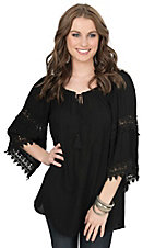 Surf Gypsy Women's Black with Crochet Insets 3/4 Sleeve Fashion Top