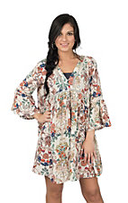Umgee Women's Cream Floral Print 3/4 Bell Sleeve Peasant Dress