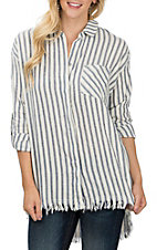 Umgee Women's Blue Stripe Frayed Fashion Shirt