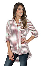 Umgee Women's Red Stripe Frayed Fashion Shirt