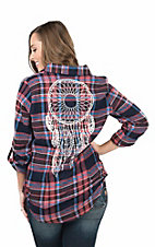 Derek Heart Women's Coral Plaid Flannel with White Screen Print Dream Catcher on Back Long Sleeve Fashion Top
