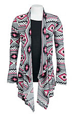 Derek Heart Girl's Grey, and Pink Aztec print Long Sleeve Cardigan