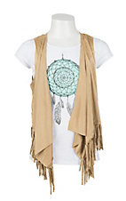 Derek Heart Girl's White Dreamcatcher Tee with Camel Suede Fringe Vest Set