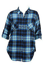 Derek Heart Women's Blue Plaid Flannel with White Screen Print Bull Skull on Back Long Sleeve Fashion Top - Plus Size