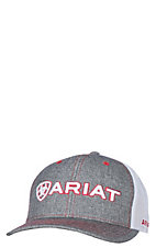 Ariat Grey Front White Mesh Logo Hat