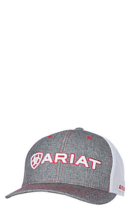 Ariat Grey Front White Mesh Logo Hat