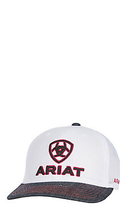 Ariat White Full Mesh with Black and Red Logo and Denim Bib Snapback Cap