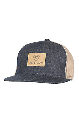 Ariat Denim with Brown Leather Logo Patch Mesh Snapback Cap