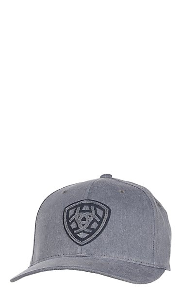 Ariat Grey with Navy Logo Shield Flex-Fit Cap  4f3753cd686