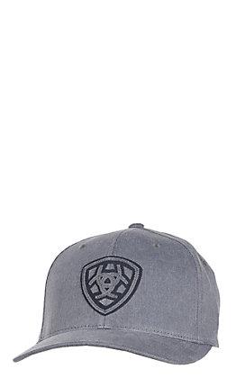 Ariat Grey with Navy Logo Shield Flex-Fit Cap