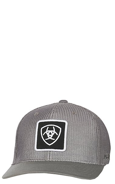 Ariat Grey Full Mesh with Black and White Shield Patch FlexFit Cap ... d947981e4f7