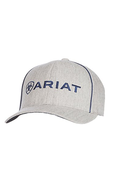 Ariat Heather Grey and Navy Blue Logo Snapback Cap  64dddf3cd95