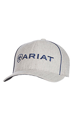 Ariat Heather Grey and Navy Blue Logo Snapback Cap