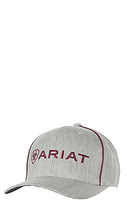 2ac241f4b85 Ariat Heather Tan Front Ivory Mesh Logo Hat