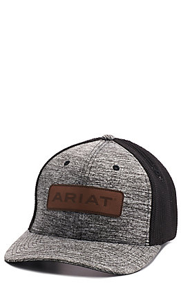 Ariat Heather Black with Leather Logo Patch and Mesh Back FlexFit Cap