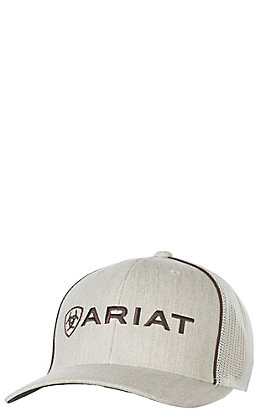Ariat Heather Tan Front Ivory Mesh Logo Hat