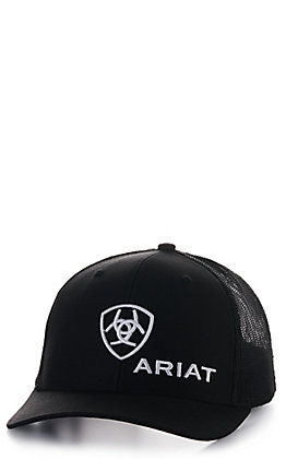 Ariat Black with White Shield Logo Cap