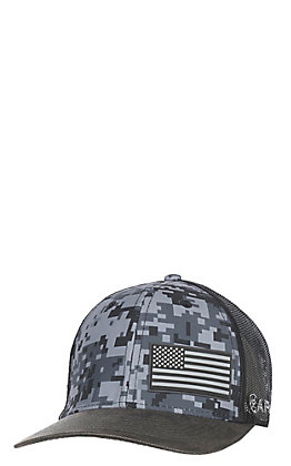 1e90e72558996 Ariat Patriot Grey Digital Camo Flag Snap Back Cap