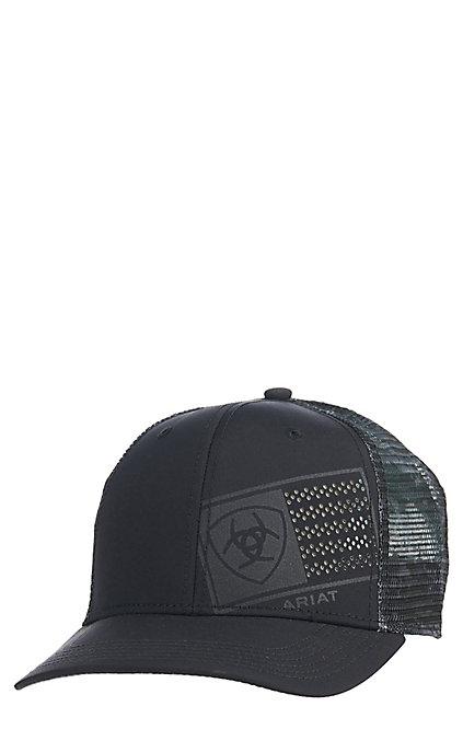 f3349f1a6 Ariat Men's Black Offset Flag Cap